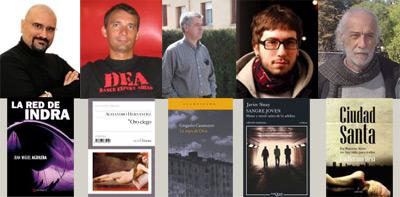 Los ganadores Juan Miguel Aguilera, Alejandro Hernández, Gregorio Casamayor, Javier Sinay y Guillermo Orsi y las portadas de los libros premiados