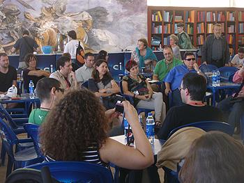 José Antonio Cotrina, Susana Vallejo, Elia Barceló, Rafa Marín, Jorge Iván Argiz y Emilio Bueso durante la tertulia