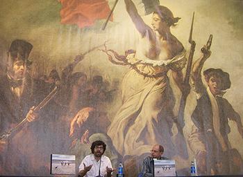 Carlos Spottorno y Fernando Marías presentando La hora del recreo
