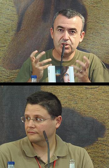 Lorenzo Silva y Bruno Nievas durante la presentación