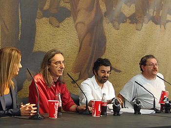 Eva Illán, José Luis Paraja, Alejandro Calvo y Paco Taibo clausurando la 25 edición de la Semana Negra de Gijón