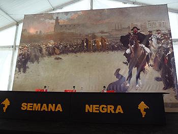 Fondo de la Carpa del Encuentro: La carga de Ramón Casas