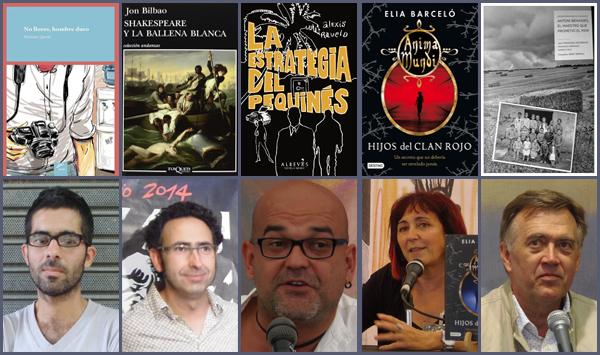 Las novelas ganadoras de los premios de la Semana Negra y sus autores. De izquierda a derecha: Mariano Quirós, Jon Bilbao, Alexis Ravelo, Elia Barceló y Francesc Escribano
