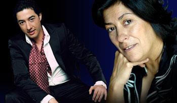 Juan Valderrama y Almudena Grandes en el cartel del concierto