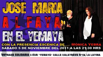 Cartel de presentación del concierto de José María Alfaya en el Yemayá