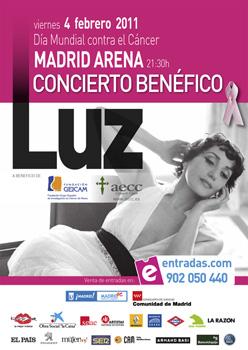 Cartel del concierto benéfico de Luz en el Madrid Arena