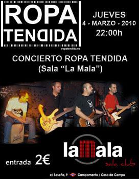 Cartel anunciando el concierto de Ropa tendida