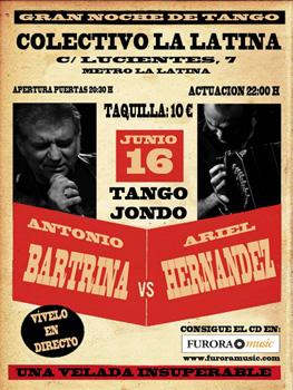 Cartel del concierto de Tango Jondo (Antonio Bartrina y Ariel Hernández) en el Colectivo La Latina