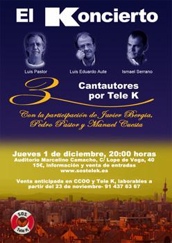 Cartel de presentación del concierto en apoyo de Tele K