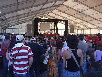 Aspecto que presentaba el acto Por el Estado social y la democracia. Contra la reforma constitucional ¡Referéndum ya!. Foto Toni Gutiérrez