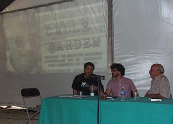 Alberto Leal, Eddy Sánchez y Andrés Linares durante el homenaje a Juan Antonio Bardem. (Foto: Toni Gutiérrez)