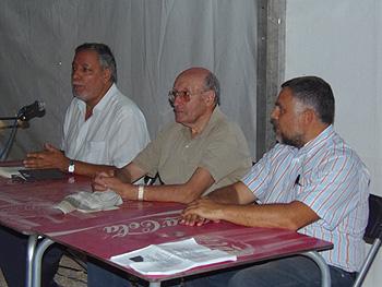 Julio Setién, Mariano Gamo y Juan Antonio Delgado de la Rosa presentando el libro Mariano Gamo. Testigo de un tiempo. Entre cristianismo y marxismo y viceversa