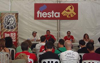 Nelson Restrepo, Enrique Santiago, Ismael González e Isabel Crespo presentando la Red de Solidaridad Popular (Foto: Toni Gutiérrez)