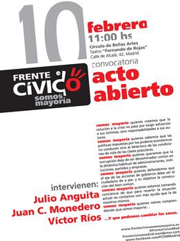 Cartel del acto abierto del Frente Cívico Somos Mayoría
