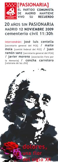Cartel anunciador del homenaje a «Pasionaria»