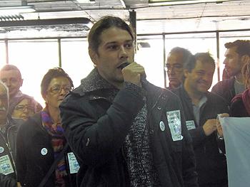 Mariano, representante de la Madrid en Transporte Público, durante su intervención