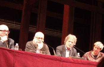 Marcos Ordoñez, Gerardo Vera, Tom Stoppard y la traductora durante la presentación de la publicación por parte del CDN de La costa de la utopía