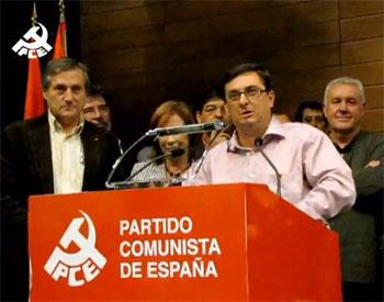 Centella durante el discurso que cierra el XVIII Congreso del PCE
