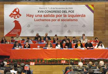 Mesa presidencial del XVIII Congreso del PCE