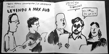 Lectura dramatizada del Teatro de las circunstancias, de Max Aub. Ilustración de Enrique Flores. Más información en 4ojos.com