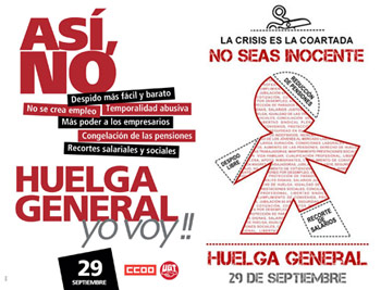 Dos carteles convocando la Huelga General del 29S