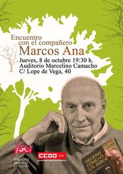 Cartel anunciador del Encuentro con el compañero Marcos Ana