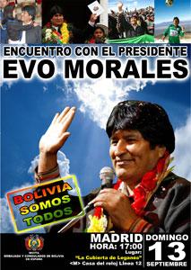 Cartel del encuentro con Evo Morales