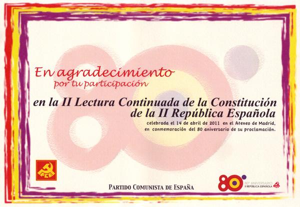 II lectura continuada de la Constitución de la II República Española