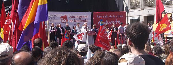 Discurso de Cayo Lara con el que concluyó la Manifestación en la Puerta del Sol (Foto: Toni Gutiérrez)