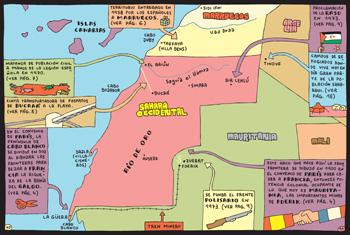Mapa del Sáhara contenido en el cómic