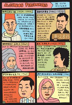 Algunos personajes principales relacionados con el conflicto del Sáhara que aparecen el tebeo