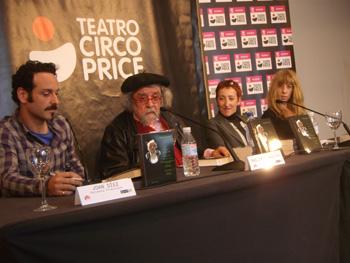Joan Díez, Philippe Gaulier, Paca Barreda y Nathalie Seseña durante el café de prensa
