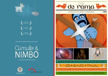 Carteles de los cortometrajes Cúmulo & Nimbo y El Viaje de Rama
