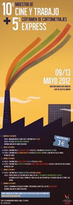 Cartel de la X Muestra de Cine y Trabajo de la Fundación Ateneo 1º de Mayo de CC.OO.