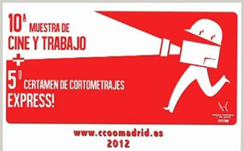 Logotipo de la X Muestra de Cine y Trabajo y el V Certamen de Cortometrajes Express que organizan la Fundación Ateneo Cultural 1º de Mayo de CC.OO.