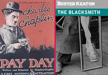 Carteles de las películas Día de paga, de Charles Chaplin, y El herrero, de Buster Keaton
