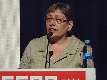 Manuela Temporelli presentando la XI Muestra de Cine y Trabajo (Foto: Toni Gutiérrez)