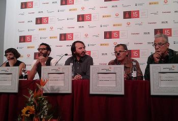 Carla Subirana, Abdelatif Hwidar, Adán Aliaga, Sergio Castellote y Luis Miñarro durante la rueda de prensa de Kanimambo (Foto: Toni Gutiérrez)
