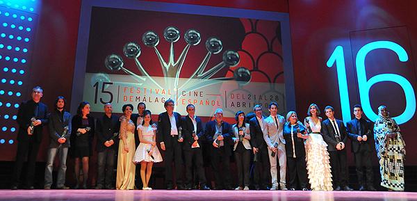Foto con los ganadores de la Sección Oficial de la 15 edición del Festival de Málaga Cine Español (Foto: Ana Belén Fernández, por cortesía del Festival de Málaga)
