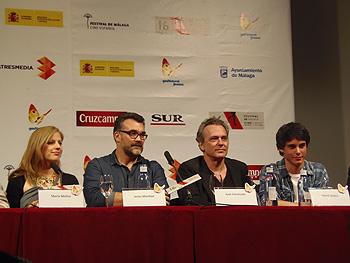 María Molins, Jesús Monllaó, José Coronado y David Solans durante la rueda de prensa de Hijo de Caín (Foto: Toni Gutiérrez)