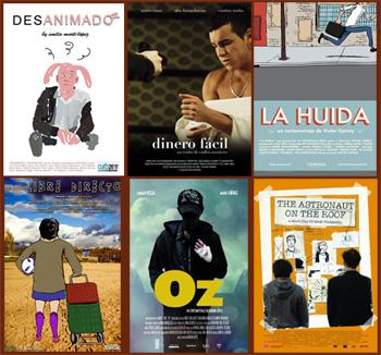 Carteles de los cortos participantes en la selección La noche del corto español