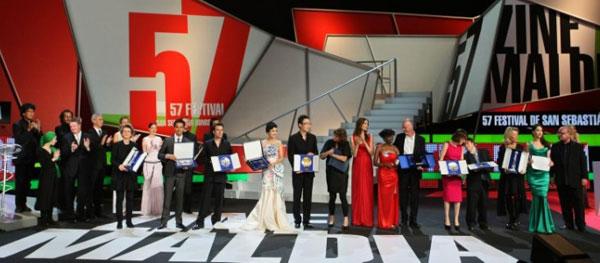 Los premiados en la 57 edición del Festival de Cine Internacional de San Sebastián