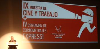 Paco Naranjo, Secretario de Comunicación de CCOO Madrid, presentando la IX Muestra de Cine y Trabajo