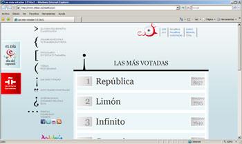 Captura de la pantalla del concurso Tu palabra favorita para el día del español cuando se suspendió la votación