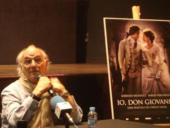 Carlos Saura durante la rueda de prensa de presentación de la película Io, Don Giovanni