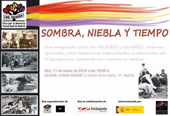 Invitación para el estreno de Sombra, niebla y tiempo