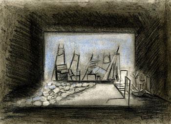 Boceto de la escenografía de la obra Perros en danza