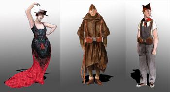 Tres de los figurines de la obra Perros en danza